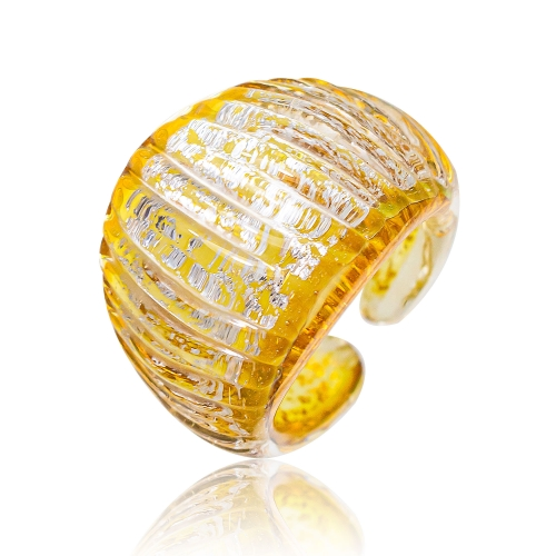 Antica Murrina Yellow Murano Glass & Silver Leaf Ring