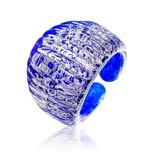 Antica Murrina Indigo Murano Glass & Silver Leaf Ring