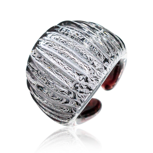 Antica Murrina Cherry Black Murano Glass & Silver Leaf Ring