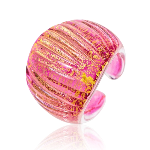 Antica Murrina Pink Murano Glass & 24k Gold Leaf Ring
