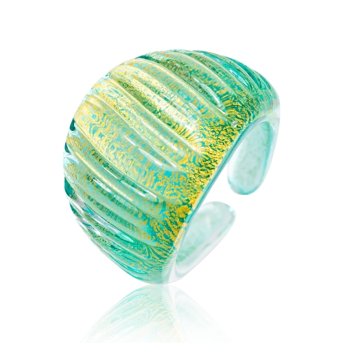 Antica Murrina Teal Murano Glass & 24k Gold Leaf Ring