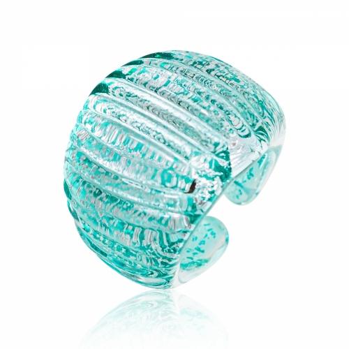 Antica Murrina Teal Murano Glass & Silver Leaf Ring