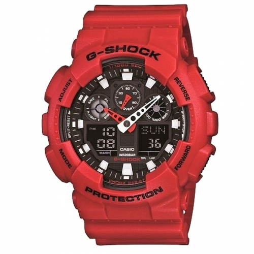 Casio Red G-Shock Alarm Chronograph Watch GA-100B-4AER