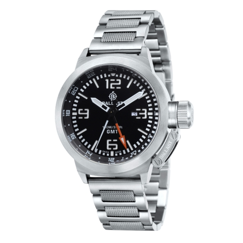 Ballast Silver & Black Trafalgar Swiss Made GMT Watch