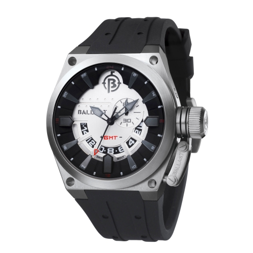 Ballast Silver & Black Valiant Swiss Made GMT Watch