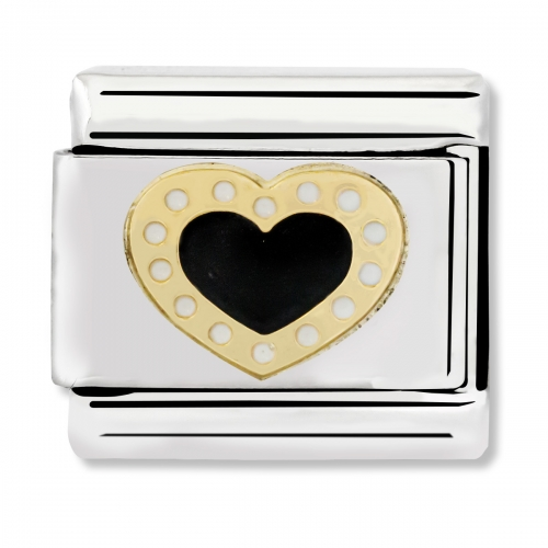 Nomination Classic Black Hearts With Dots Link Charm