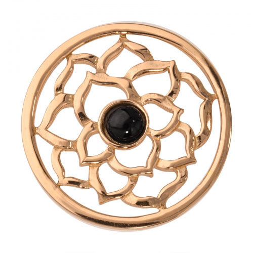 Nikki Lissoni Black Onyx Flower - Medium Gold Plated Coin