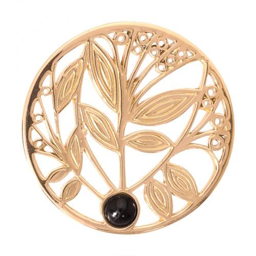 Nikki Lissoni Black Onyx Tree - Medium Gold Plated Coin