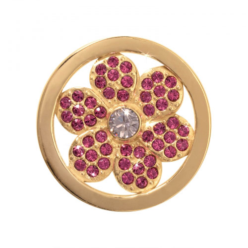 Nikki Lissoni Pink Flower - Small Gold Plated Coin