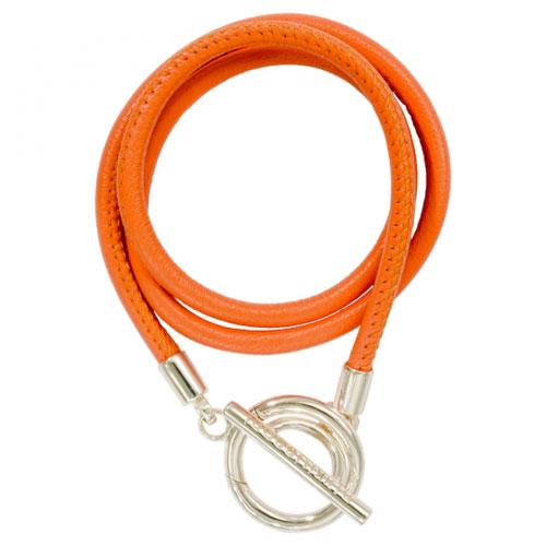 Nikki Lissoni 'Orange Leather' 21cm Silver Plated Wrap Bracelet