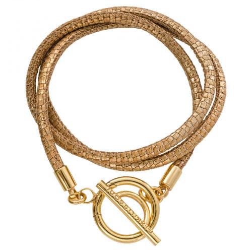 Nikki Lissoni 'Metallic Vintage Reptile Leather' 19cm Gold Plated Wrap Bracelet