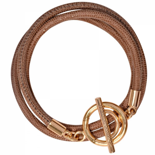 Nikki Lissoni 'Beige Leather Cord' Large Gold Plated Wrap Bracelet