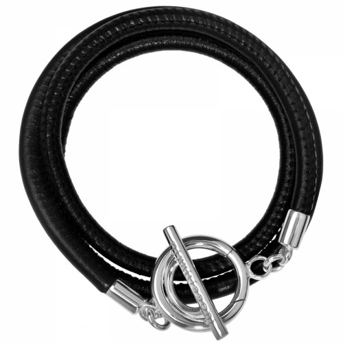 Nikki Lissoni 'Black Leather Cord' Small Silver Plated Wrap Bracelet