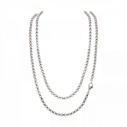 Timebeads 'Small Link Belcher' 80cm Silver Plated Chain Necklace
