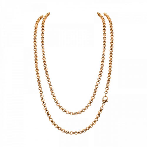 Timebeads 'Small Link Belcher' 80cm Gold Plated Chain Necklace