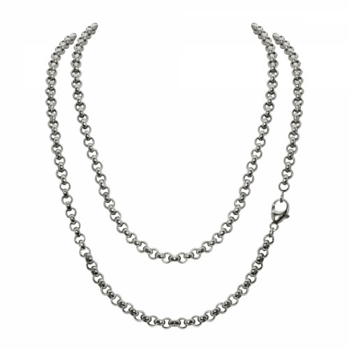 Timebeads 'Medium Link Belcher' 90cm Silver Plated Chain Necklace