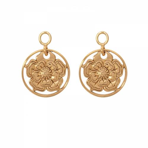Nikki Lissoni 'Lovely Flower' 14mm Gold Plated Earring Coins