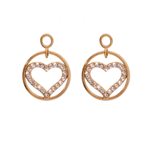Nikki Lissoni 'Sparkling Heart' 14mm Gold Plated Earring Coins
