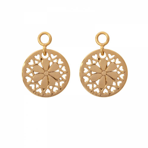 Nikki Lissoni 'Flower with Love' 14mm Gold Plated Earring Coins
