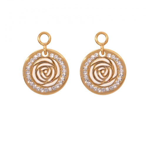 Nikki Lissoni 'Vintage Rose' 14mm Gold Plated Earring Coins