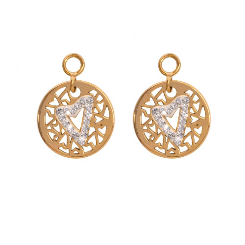 Nikki Lissoni 'Surrounded by Hearts' 14mm Gold Plated Earring Coins