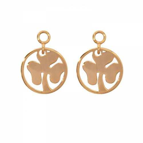 Nikki Lissoni 'Clover' 14mm Gold Plated Earring Coins
