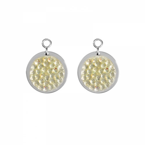 Nikki Lissoni 'Clear Rock Crystal' 14mm Silver Plated Earring Coins