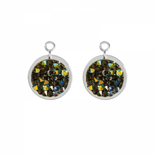 Nikki Lissoni 'Green Rock Crystal' 14mm Silver Plated Earring Coins