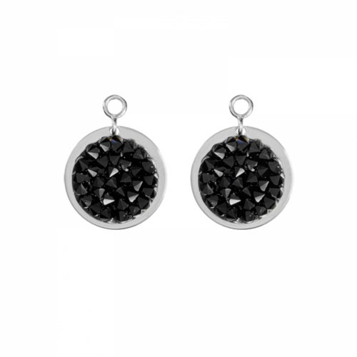 Nikki Lissoni 'Black Rock Crystal' 14mm Silver Plated Earring Coins