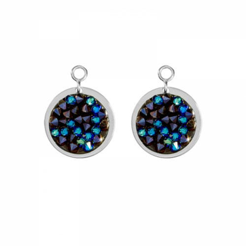 Nikki Lissoni 'Blue Rock Crystal' 14mm Silver Plated Earring Coins