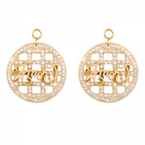 Nikki Lissoni 'Amor' 24mm Gold Plated Earring Coins