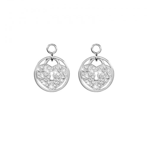 Nikki Lissoni 'Sparkling Lock' 14mm Silver Plated Earring Coins