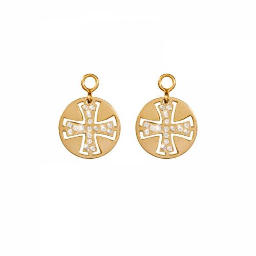 Nikki Lissoni 'Celtic Cross' 14mm Gold Plated Earring Coins