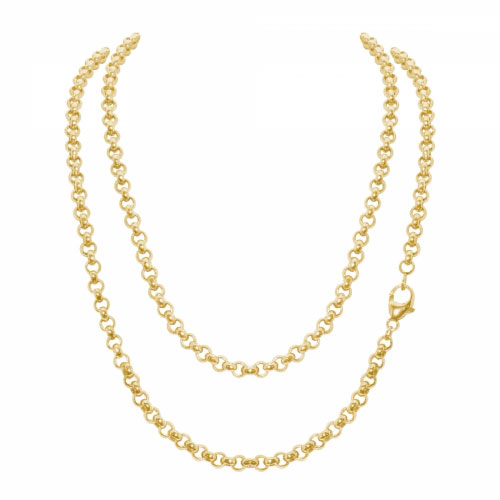 Timebeads 'Medium Link Belcher' 80cm Gold Plated Chain Necklace