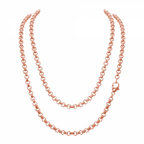 Timebeads 'Medium Link Belcher' 80cm Rose Gold Plated Chain Necklace