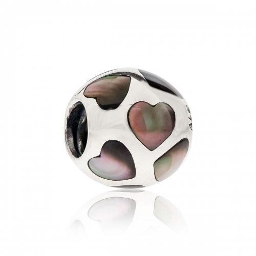 Pandora Love Me Silver & Black Mother of Pearl Charm 790398MPB