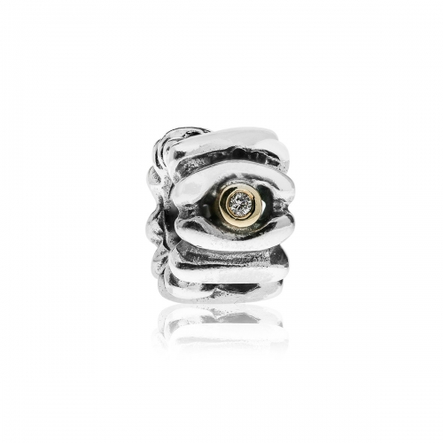 Pandora Diamond Eye Silver, 14k Gold & Diamond Charm 790352D