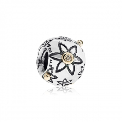 Pandora Flower Power Silver, 14ct Gold & Diamond Charm 790399DN