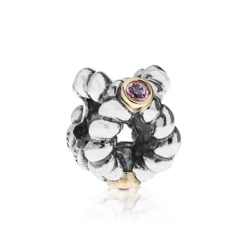 Pandora Binding Beauty Silver, 14ct Gold & Pink Sapphire Charm 790410PSA