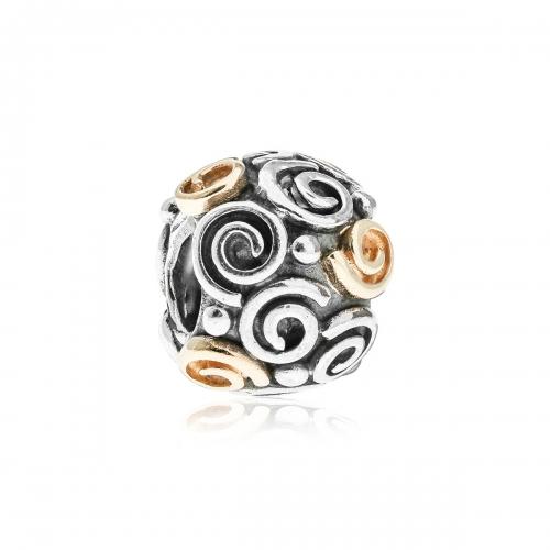 Pandora Swirl Silver & 14ct Gold Charm 790414