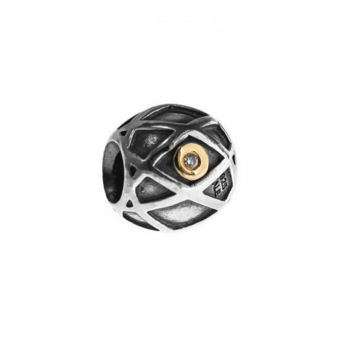 Pandora Harlequin Silver, 14ct Gold & Diamond Charm 790164D
