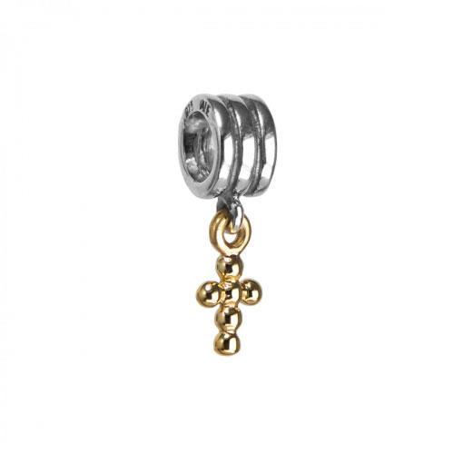 Pandora Cross Silver & 14k Gold Pendant Charm 790169