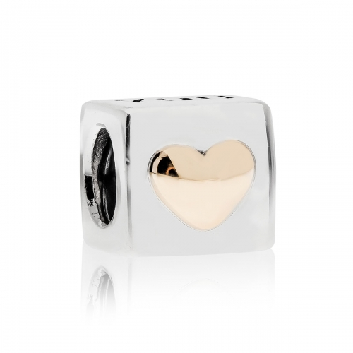 Pandora I Love You Silver & 14ct Gold Charm 790200