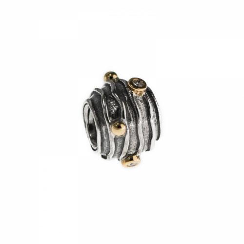 Pandora Ripple Silver, 14k & Diamond Charm 790209D