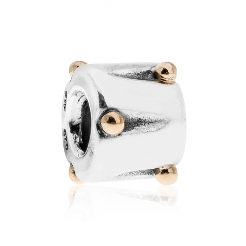 Pandora Dotted Drum Silver & 14ct Gold Charm 790229