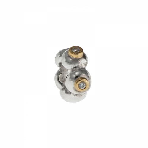 Pandora Bubble Wheel Silver & 14k Gold Spacer Charm 790282D