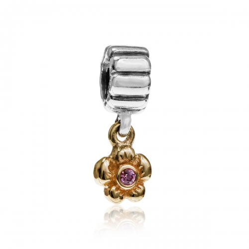 Pandora Flower Silver, 14k Gold & Pink Sapphire Pendant Charm 790372PSA