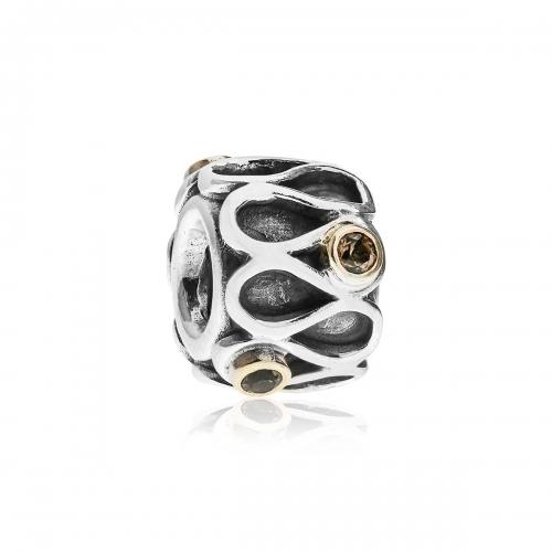 Pandora Ruffles Silver, 14k Gold & Smoky Quartz Charm 790366SQ