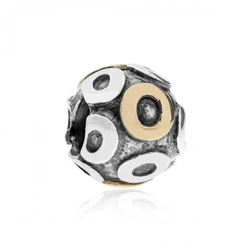 Pandora Letter O Silver & 14ct Gold Charm 790298O