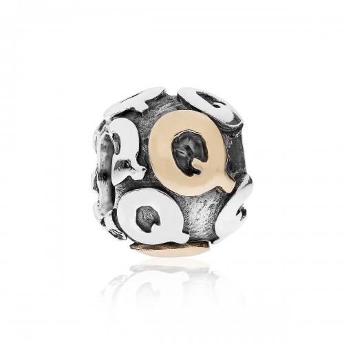 Pandora Letter Q Silver & 14ct Gold Charm 790298Q